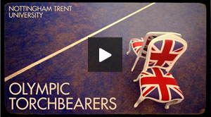 Nottingham Trent  University Olympic Torchbearers video still with play button graphic