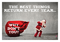 Santa pulling a sack with slogan - The best things return every year