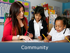 picture of a girl at a desk in a classroom helping  two children caption reads 'Community'