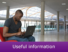 picture of Man sitting reading from laptop wit  caption 'useful information'