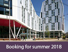 picture of new Students Union building on the  city site with caption 'booking for summer 2014'