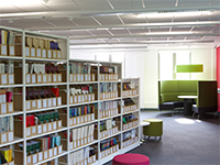 Book shelves in Clifton Library