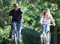 Couple on bikes