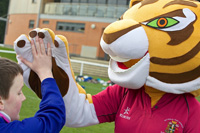 Sports mascot and student