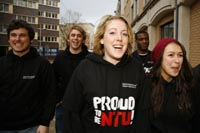 Students walking on City campus wearing Proud to be NTU tops