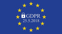EU flag with the text GDPR 25.5.2018