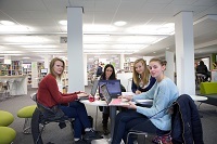 Clifton Library Level 0. Female students group study