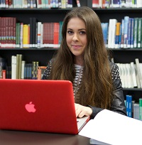Boots Library, Level -1, female student using a laptop