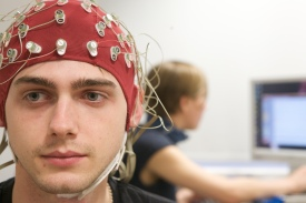 Image of student conduction Psychology experiment.