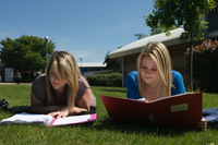 Students sat on the grass