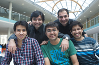A group of international students in Boots library
