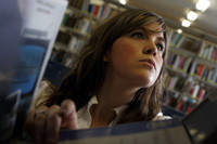 A student in the library