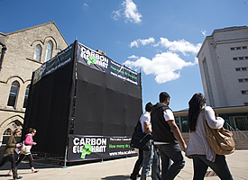 NTU Carbon Elephant Cube campaign outside the Newton building
