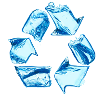 Recycle logo made out of water