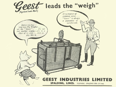 A magazine advertisment for a Geest pig-weighing machine.