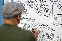 Person drawing on poster board