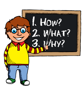 Illustration of a boy at a chalk board