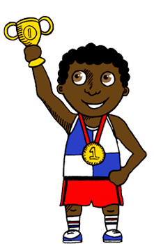 Illustration of a boy with a trophy