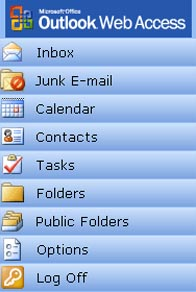 Outlook web access menu