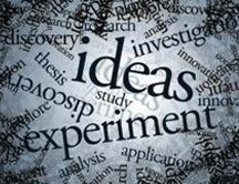 montage of words - 'ideas' 'experiment' and 'discovery' most prominent