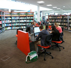 Students using fixed PCs in Brackenhurst Library