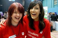 Students volunteering at an open day