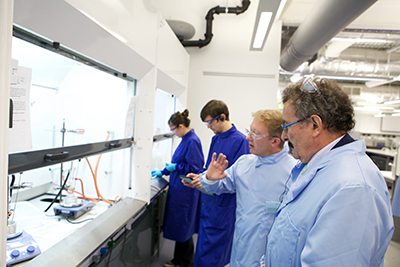 Professor Robert Winston looking at fume cupboard