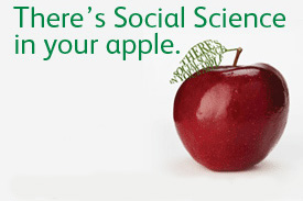 red apple with text - there's social science in your apple