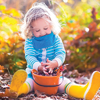 A little girl playing with a bucket of leaves in Autumn