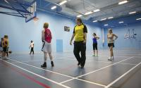 students using city sports centre sports hall