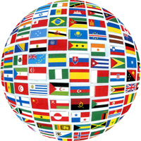 A globe of flags