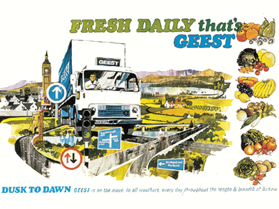 An advertisment for Geest fresh produce.